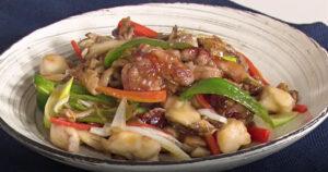 《きょうの料理》豚肉ときのこの甘酢がらめ(薄切り肉で10分おかず:斉藤辰夫)