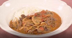 《きょうの料理》ビーフストロガノフ(薄切り肉で10分おかず:上田淳子)