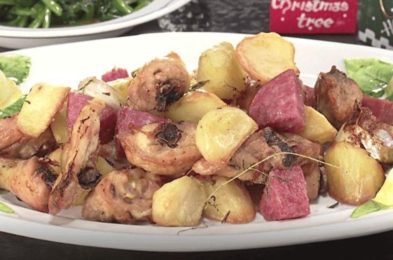 骨つき鶏肉とサラミとじゃが芋のロースト&ほうれん草の焦がしバターソテー