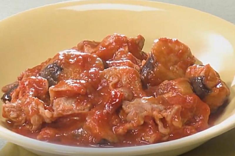 なすと豚肉のトマト煮(ストック食材でおいしくヘルシー)